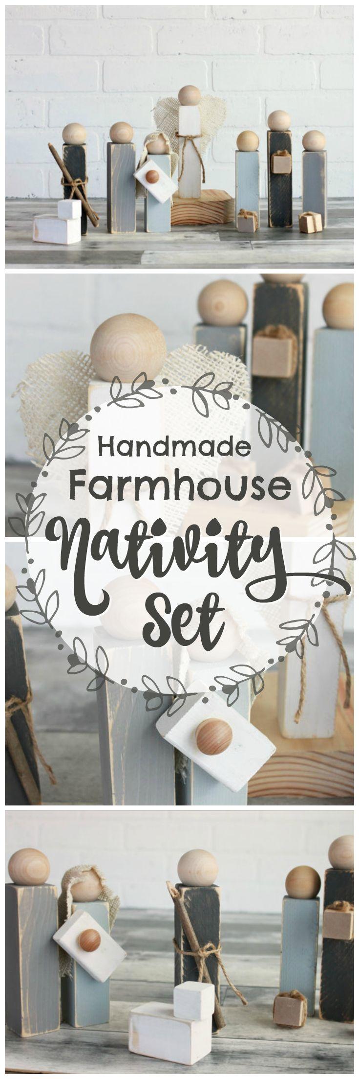 Handmade, rustic, wooden nativity set, for a farmhouse