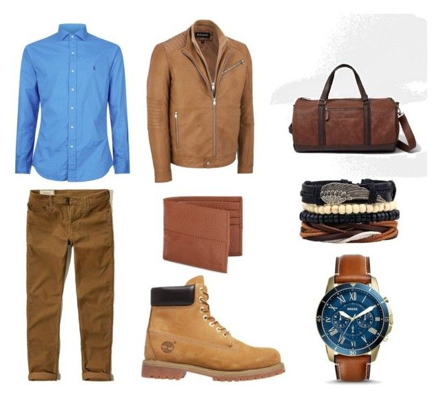 """""""Camel"""" by ricardo-rodriguez-hernandez on Polyvore featuring Polo Ralph Lauren, Hollister Co., River Island, Cole Haan, Timberland, FOSSIL, men's fashion y menswear"""