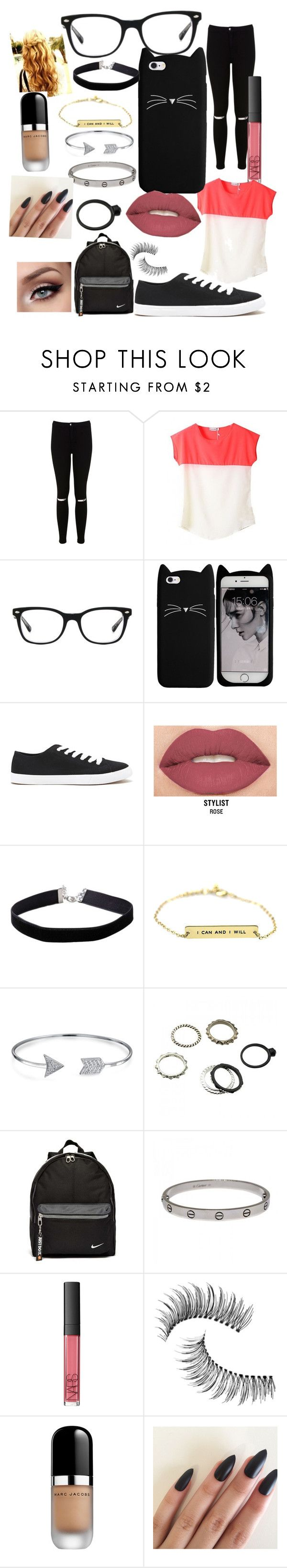 """•???•"" by benhemmings on Polyvore featuring Miss Selfridge, Ray-Ban, Forever 21, Smashbox, Bling Jewelry, NIKE, Cartier, NARS Cosmetics, Trish McEvoy and Marc Jacobs"