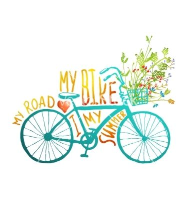 Summer blue bicycle vector typography - by Popmarleo on VectorStock®