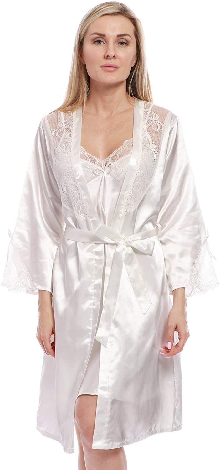 68ff0bdb05e14 BellisMira Women s Long Satin Robe Bridal Kimono Lace Pajamas Sleepwear Robe  ONLY Size UP Ivory White