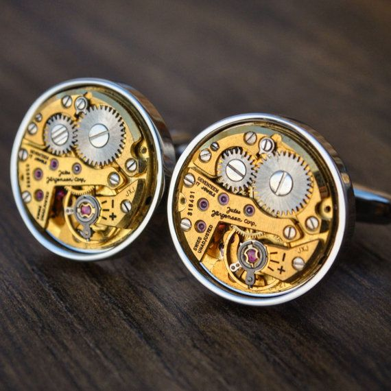 Jules Jurgensen Watch Movement Cufflinks by JFoxCufflinks on Etsy  #cufflinks #suit #tie #shirt #horology #menswear #mensfashion #watchmovementcufflinks #mensaccessories #men #gentleman #dapper #sartorial #debonair #vintagecufflinks #steampunkcufflinks #steampunk #retail #groom #luxury #weddingday #groomgift #timepiece #groomsmengift #dadgift #handmade #fashion #birthdaygift #wristwatch #style #watch #bestmangift #etsy #etsyshop #julesjurgensen