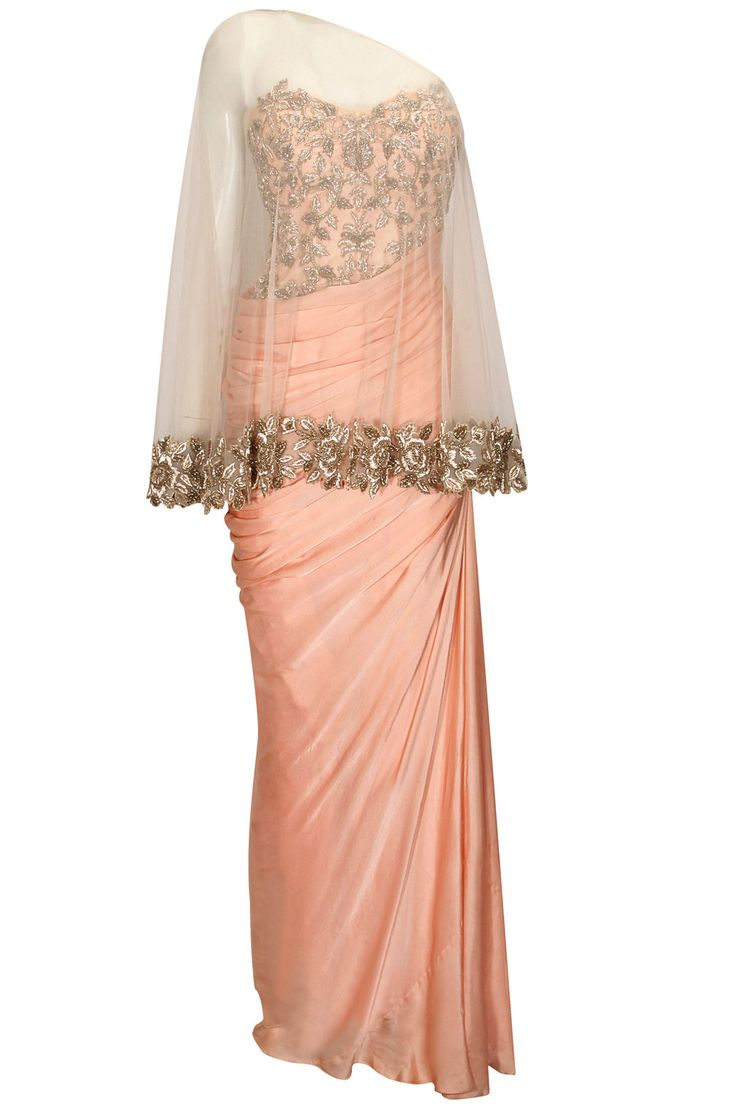 Salmon pink floral zardosi embroiderered drape gown by Sonaakshi Raaj. Shop now: http://www.perniaspopupshop.com/designers/sonaakshi-raaj #sonaakshiraaj #gown #shopnow #perniaspopupshop