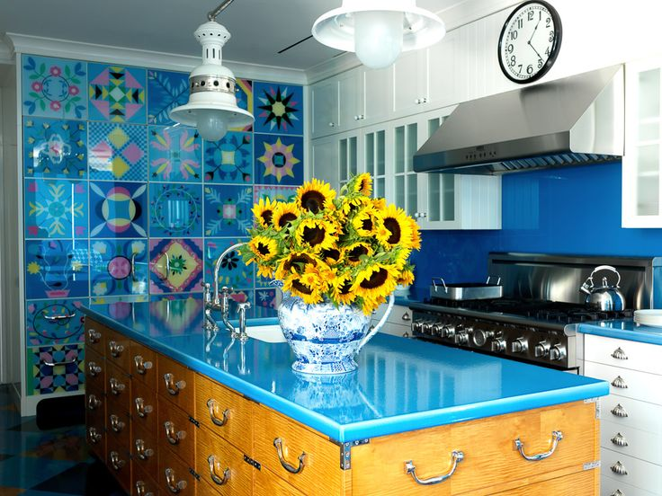 colorful kitchen ideas. A Kitchen In Boston Featuring Refrigerator Hidden With Quilt Patterns Reverse Painted On Glass. Colorful Ideas N