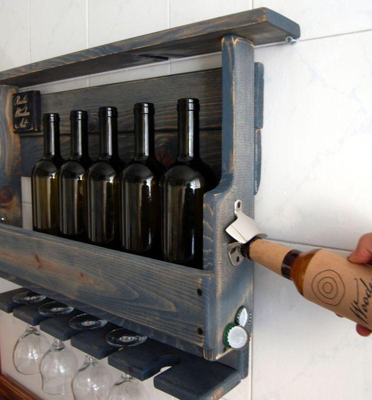 Rustik şarap rafı / L - Antik mavi Zet.com'da 259 TL