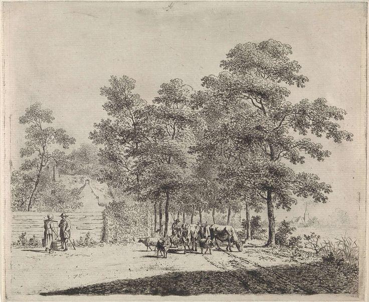 Johannes Christiaan Janson | Landweg met herder en vee, Johannes Christiaan Janson, 1778 - 1823 | Met bomen omzoomde landweg met een herder die drie koeien en vier schapen voortdrijft. Links een man en een vrouw met een melkjuk op haar schouders in gesprek, staand bij een houten schutting. Rechts op de achtergrond een kerk.