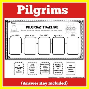 FREE Pilgrims Activity: Here's a free cut and paste timeline that you can use with your Pilgrims units!  Visit and follow  GREEN APPLE LESSONS for more great resources!