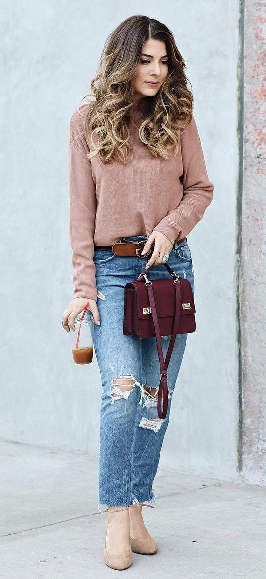 #winter #fashion /  Tan Turtleneck + Burgundy Shoulder Bag