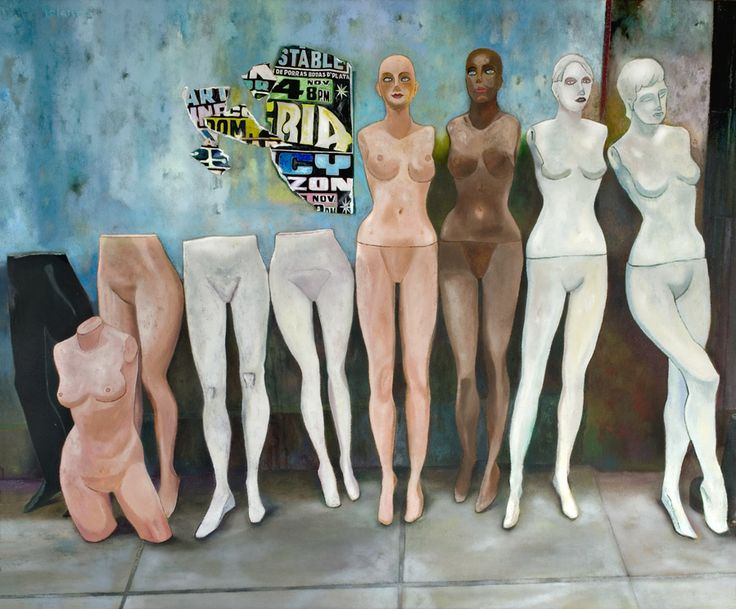 """Clínica de Maniquies (Enrique Polanco, 2013). Pintura da exposição """"Obra reciente"""", vista na Sala Luis Miró Quesada Garland, em Lima."""