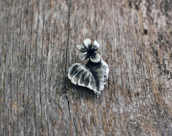 Wood Violet Brooch in silver pewter by EarthlyCreature on Etsy