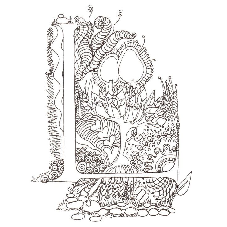 Monogram, Initial, Colour-Me-In Illuminated Letters - L, original art  drawings by melanie j cook. $5.00, via Etsy.