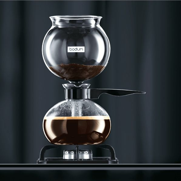 Pebo Vacuum Coffee Maker by Bodum $118. Looks cool. Won't work on my induction stove though.