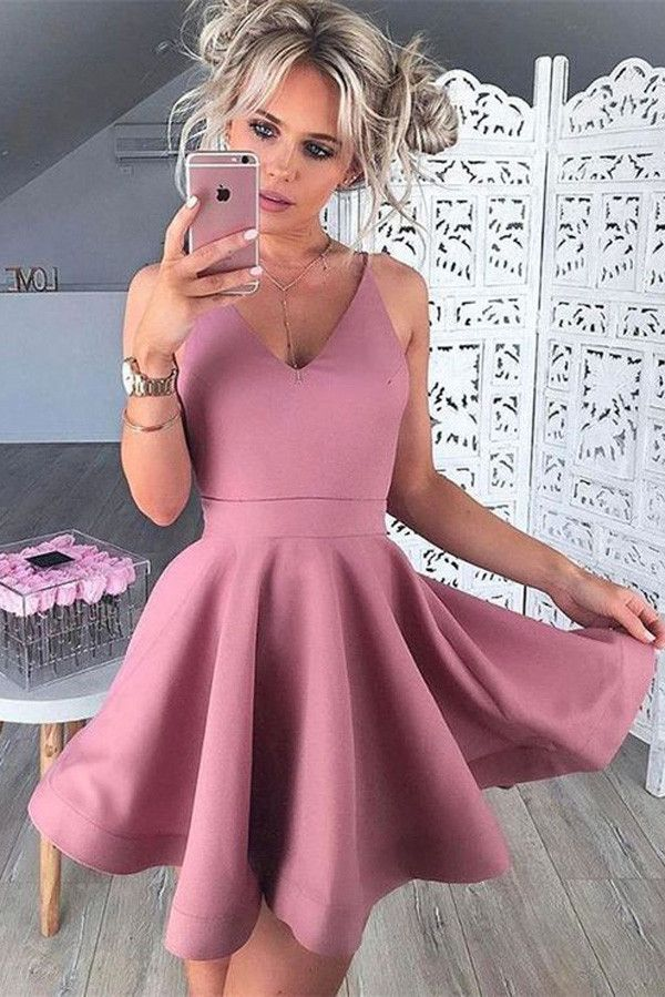 Pink Satin Homecoming Dresses,Homecoming Gowns,Short Homecoming Dresses,SH48