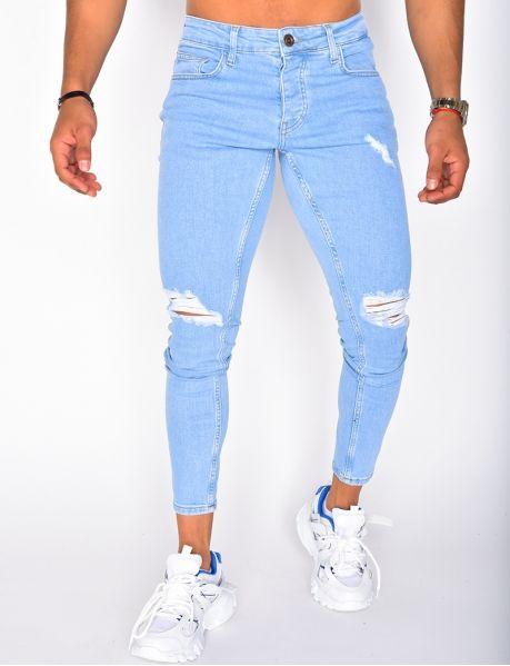 Blue Jeans Outfit Men, Blue Jean Outfits, Jeans Pants, Denim Jeans, Skinny Jeans, Men Street Look, Jean Destroy, Fashion Men, Fashion Tips