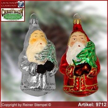 Christbaumschmuck, Weihnachtsmann mit Baum, Baumschmuck aus Lauscha Glasfigur, Glasform Sammlerstücke Lauschaer Glaskunst ®.
