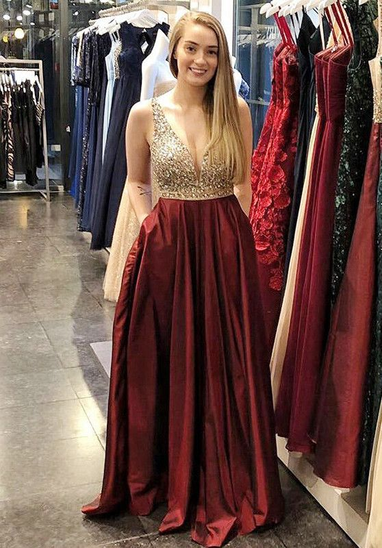 A-Line V-Neck Sweep Train Dark Red Satin Prom Dress with Beading ... e347fbb7c