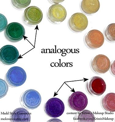 Beginning (makeup) color theory for non-artists - analogous colors.  krissisandvik.
