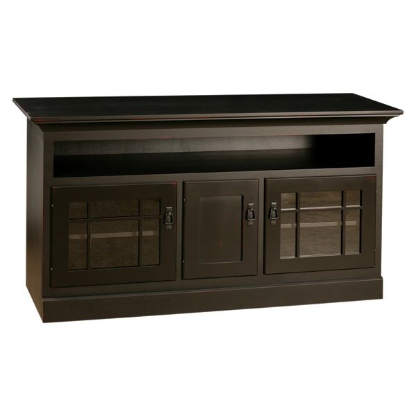 Our mission collection added another beautiful piece that will compliment your Arts & Crafts home décor. This unit is made by highly skilled craftsman with experience and dedication. In addition, its painted black with natural rub gives this TV stand an authentic feel of hand made sturdy built furniture.   The DVD opening space is a great feature for easy access to your DVD player or other electronic devices. Each compartment has one adjustable shelf to store all your electrical components…