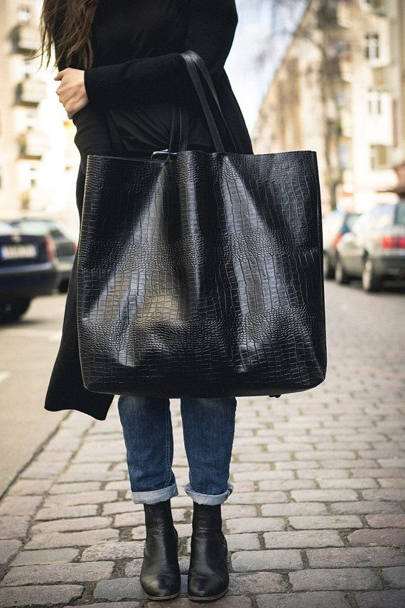 87327c362f01 Black Oversized Croc Tote Bag Patkas Giant croc by PatkasBerlin