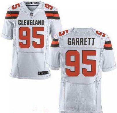 bdbc8845e ... Mens Cleveland Browns 95 Myles Garrett White Nike NFL Elite Jersey ...
