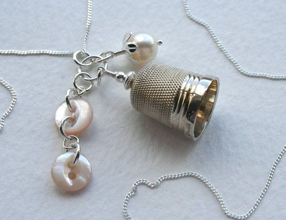 Vintage Thimble Sterling Silver Button and Pearl Charm Necklace via Etsy