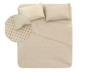 Completo letto matr. in cotone Pied-de-Poule - beige