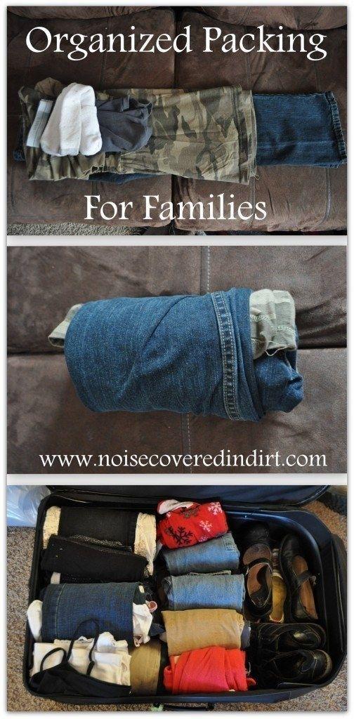 Für platzsparendes Taschenpacken rolle die Kleidung Deines Kindes zusammen, statt sie zu falten. | 100 geniale Lifehacks für Eltern, die Dein Leben leichter machen