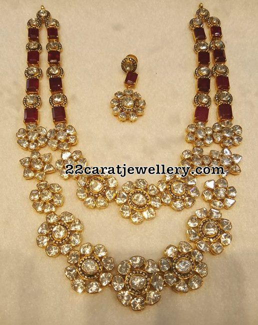 Two Rows Diamond Floral Necklace - Jewellery Designs