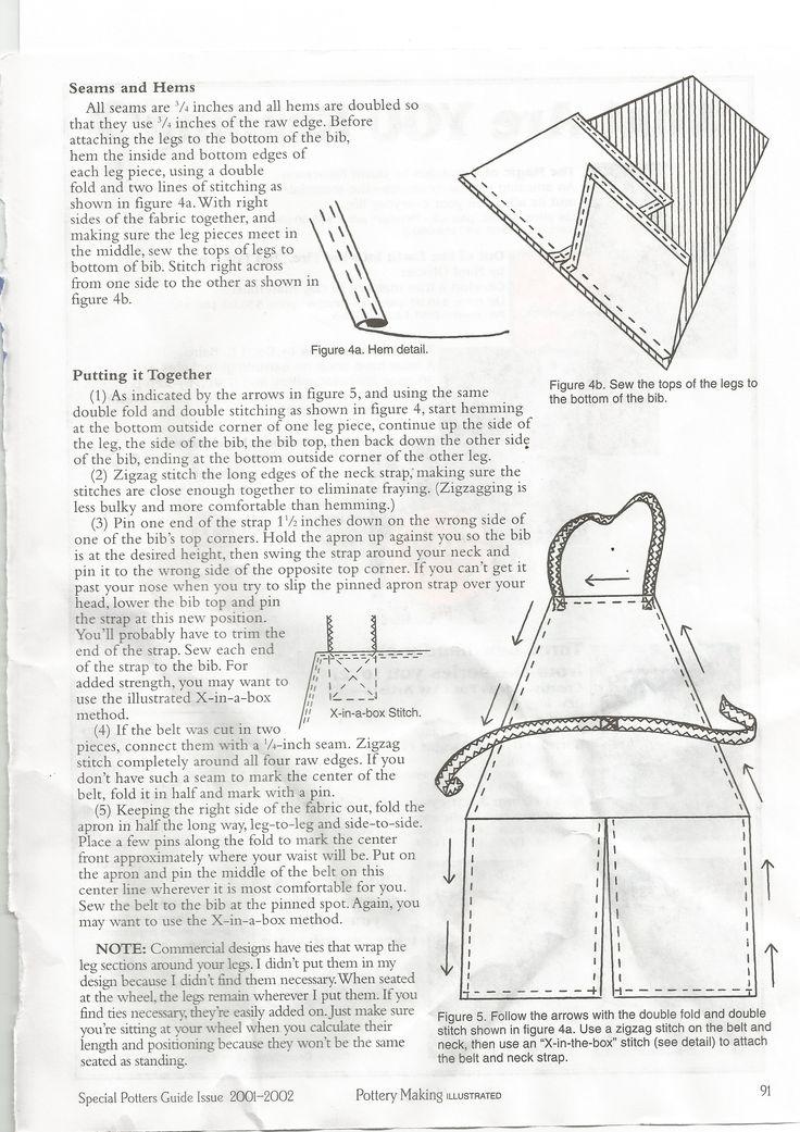 make a split leg pottery apron