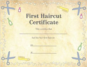 Silhouette Design Store - View Design #10895: first haircut certificate pnc