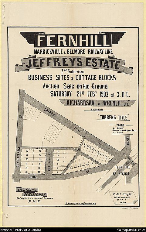 Jeffreys Estate, Fernhill. Sales plan for Fernhill (now part of Hurlstone Park), New South Wales. Courtesy National Library of Australia.