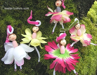 flower fairies with clothes pins and silk flowers