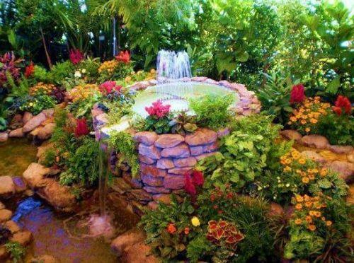 15 wunderschöne Ideen für ausgefallene Gartendeko originelle gartendeko runder springbrunnen  ~ 04211908_Gartendeko Mit Kindern Gestalten