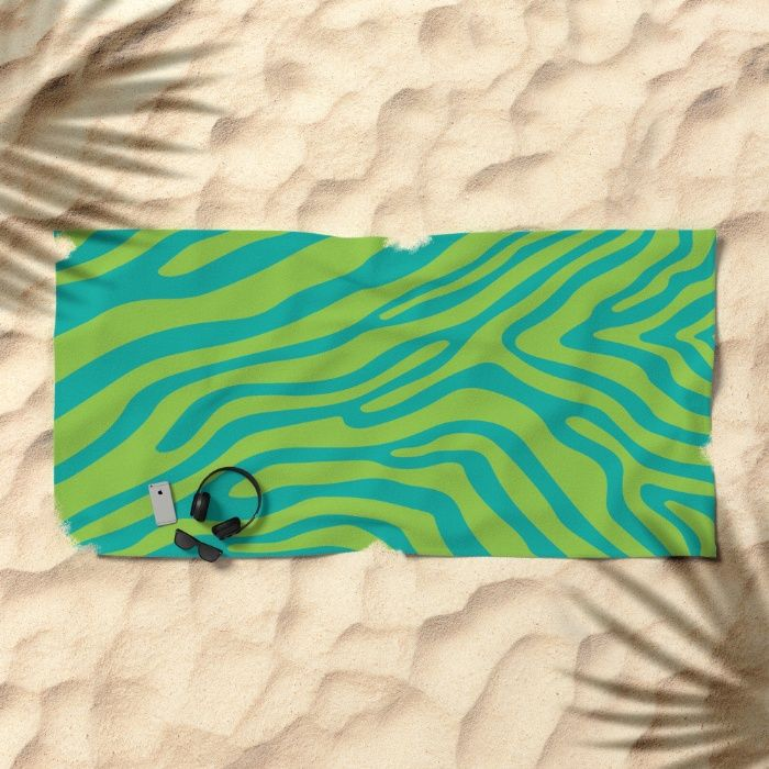 Summer Zebra: Lime Beach Towel by REALITY Studios | Society6