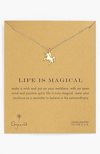 Free shipping and returns on Dogeared 'Reminder - Life is Magical' Boxed Unicorn Pendant Necklace at Nordstrom.com. A fantastical creature adds shine, engraved detail and a touch of magic to a delicate gold-dipped necklace.
