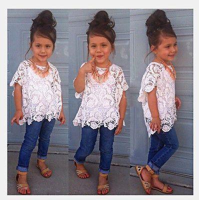 New Baby Girls Clothing Set Lace Top White T-Shirt Denim Jeans 3 Pcs/Suit
