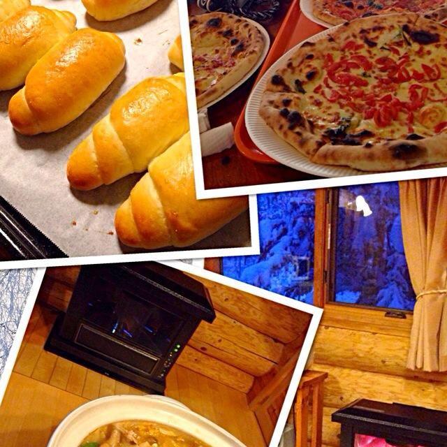 5時起きで(はい、私だけ寝坊しました)、岐阜県ひるがの高原に スキーに来ています。 朝食は 手作りバターロールに チーズやハムなどを挟んでサービスエリアで、昼食は ゲレンデで石窯焼きのピザを売ってたので 即買い、夕食は 貸し別荘で キムチ鍋しました〜。 本日、ムスメが リフトデビュー‼︎ 親子3人で滑る夢が 叶いました。 カンパーイ  誠に勝手ながら、こちらが 3G環境のため 皆様のところに しばらくお邪魔出来ません。ゴメンなさい。 - 113件のもぐもぐ - スキー好き〜‼︎@岐阜県ひるがの高原 by mizosoji