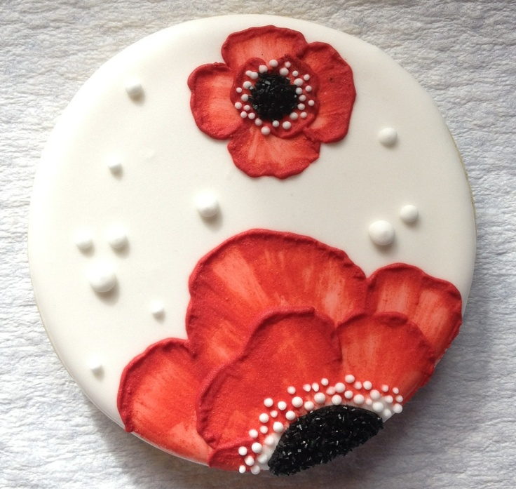 SweetTweets - Poppy Flower Cookies - 1 dozen. $36.00, via Etsy.