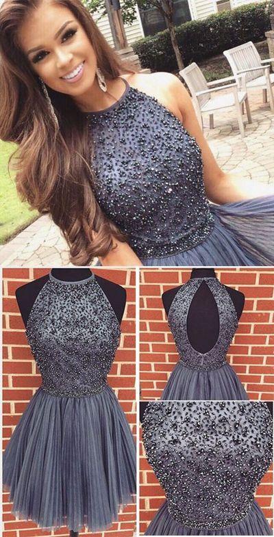 halter open back homecoming dresses, simple party dresses beaded, fashion short prom dresses, semi formal dresses.