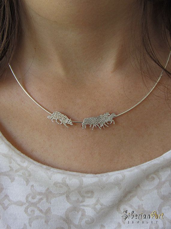 Working Border Collie and Sheep necklace - sterling silver