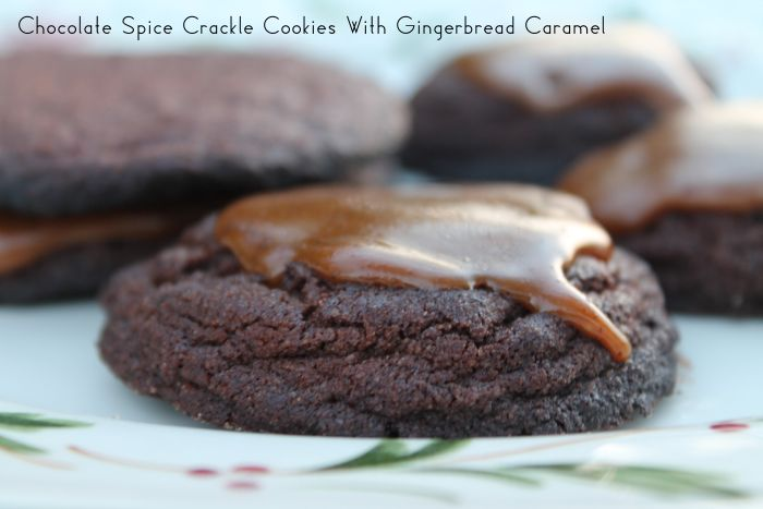 Chocolate Spice Crackle Cookies with Gingerbread Caramel - I think I'd like to adapt these slightly to leave out the gingerbread flavor and make them chocolate and caramel.