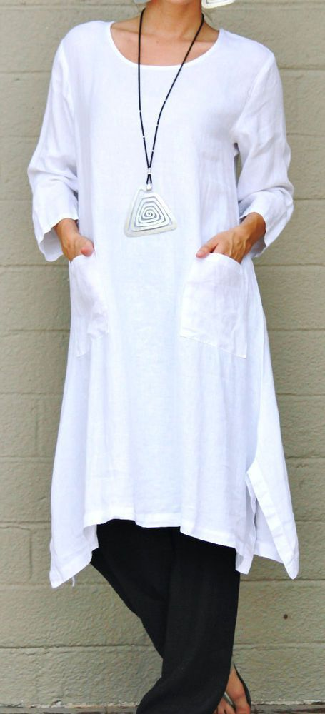 ET'LOIS USA Linen UMA TUNIC Long A-line w/ Pockets Dress S M L XL WHITE #ETLOIS #Tunic #Casual: