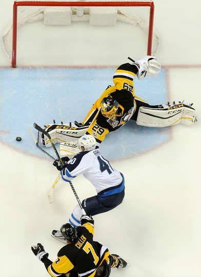 Jets     Pittsburgh Penguins   Photos Marc Andre Fleury Of The Pittsburgh  Penguins Makes A Save On Joel Armia