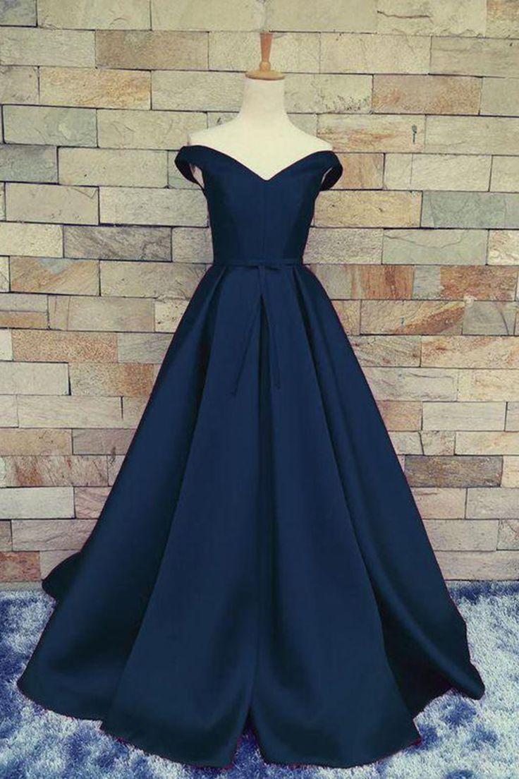 Off-shoulder prom dress,chiffon prom dress, ball gown, elegant dark blue vintage prom dress