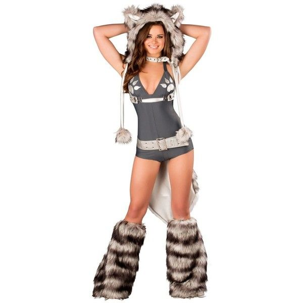 womens wolf romper sexy costume 50 liked on polyvore featuring costumes halloween - Wolf Costume Halloween