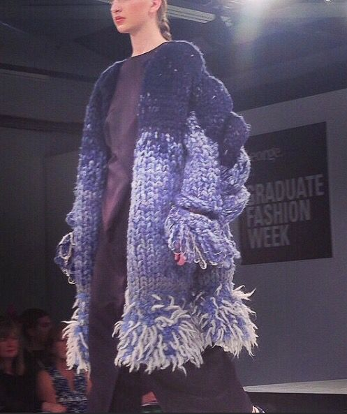 Lovely picture of outfit n.6 from 'Re-constructing Heritage' taken at graduate fashion week 2015 • #UCARochester #ValentinaDesideri #gfw2015 #tailoring #womenswear #emergingdesigner #graduatefashionweek #knitwear #experimentalknits #experimentalknitwear #woolyarn #creativepatterncutting #chunkyknit #chunkyknitwear