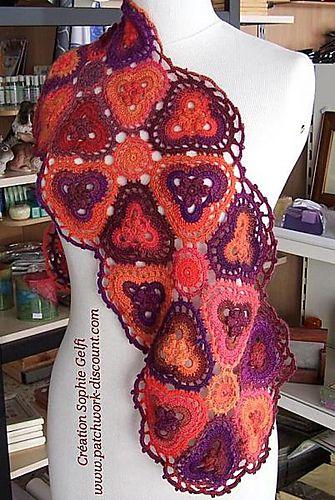 Ravelry: Granny Trefolio Scarf ~ pattern available { by Sophie GELFI }Orange, Crochet Granny, Crochet Scarf, Trefolio Scarf, Granny Trefolio, Crochet Scarves, Crochet Shawl Cowls Scarf, Ravelry, Scarf Pattern