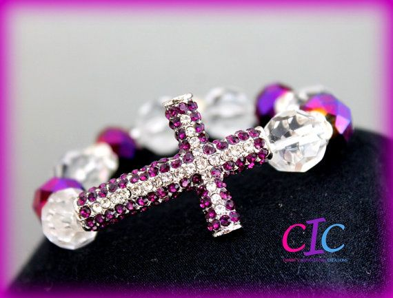 Purple Sideways Cross #Faith Bracelet by CIC Etsy, $35.00 #thecross #handmadejewelry #etsy #womanofGod #Christianwomen