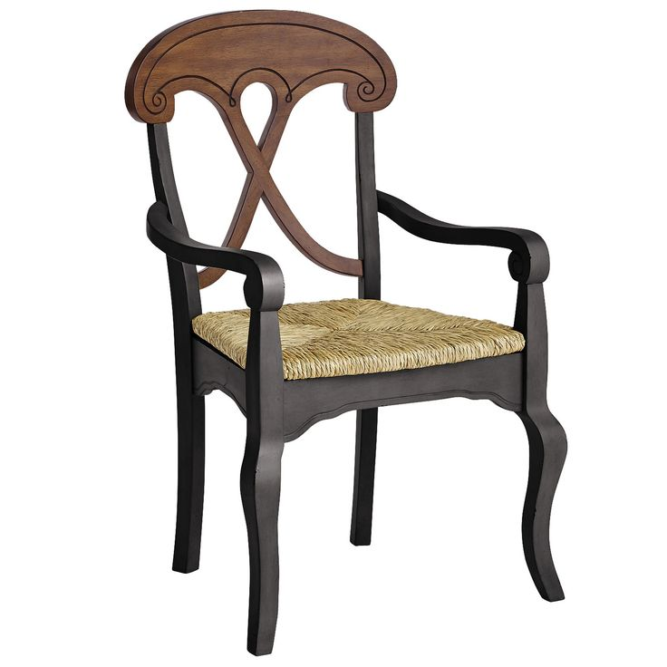 So. Love. This. Chair. Now even more comfy than before, with a hardwood X-back, hand-woven rush seat and sturdy arms. A scalloped apron, flirty cabriole legs and hand-applied rubbed black finish complete the picture, setting this design far apart from the typical farmhouse chair. Farmhouses in Tuscany excepted.