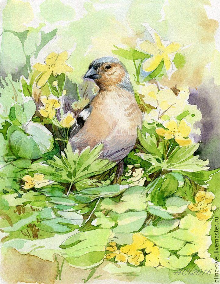 """Купить Акварель """"Весенний зяблик"""" - зеленый, зяблик, весна, весенние цветы, птичка, пташка"""